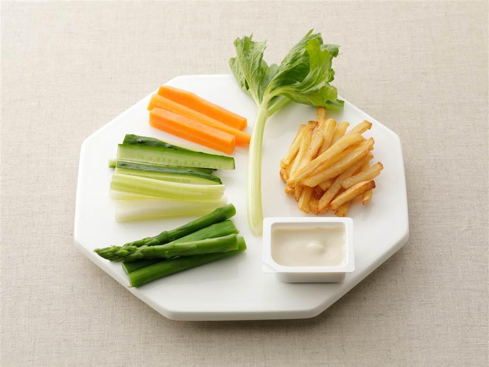 写真:彩り野菜とフライドポテトのおつまみディップ