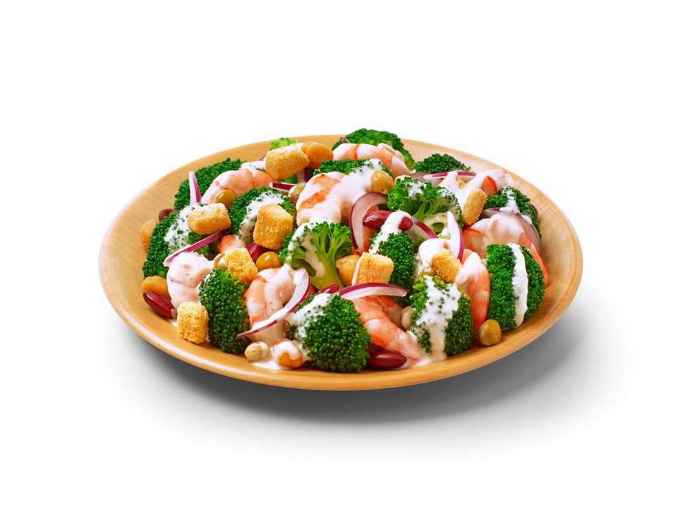 写真:えびとブロッコリーとミックスビーンズのサラダ