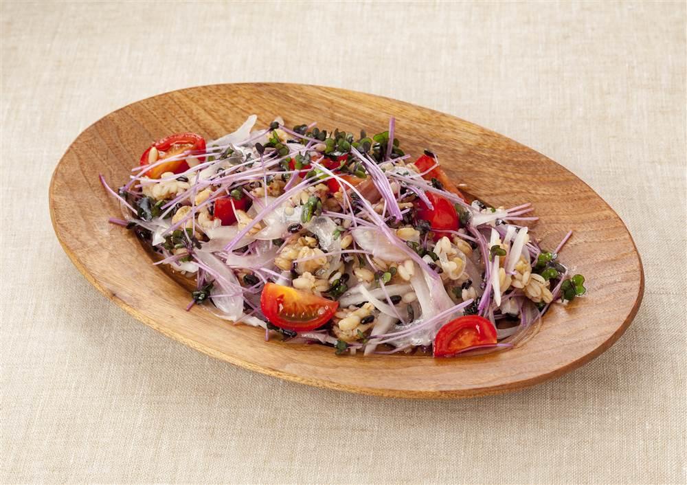 写真:新玉ねぎとスプラウトのグレインズサラダ