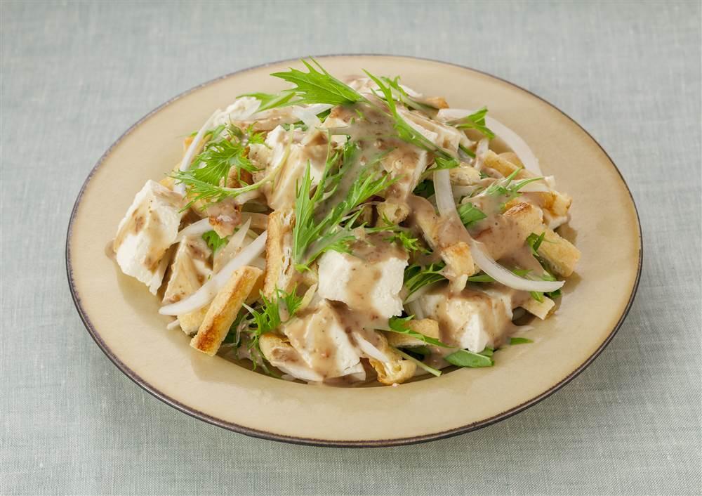 写真:水菜と豆腐のサラダ