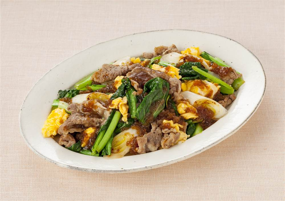 写真:小松菜と豚こま炒め たっぷり和風たまねぎがけ