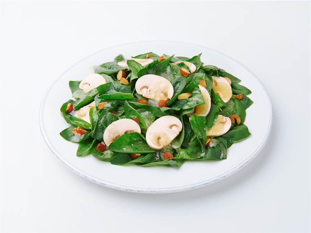 写真:サラダほうれん草とマッシュルームのサラダ
