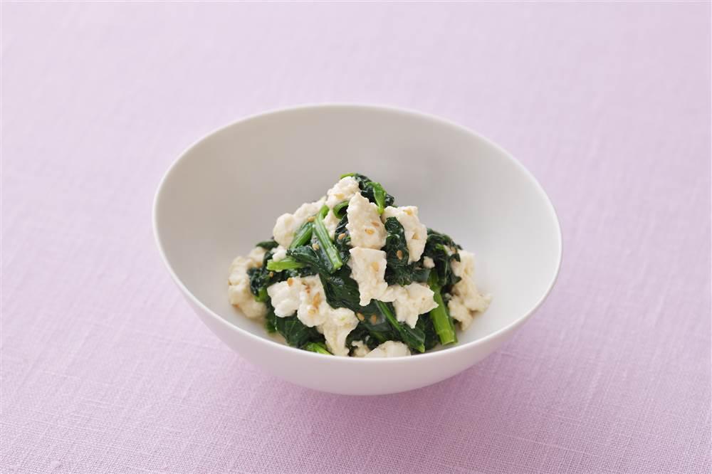 写真:ほうれん草と豆腐のドレッシング和え