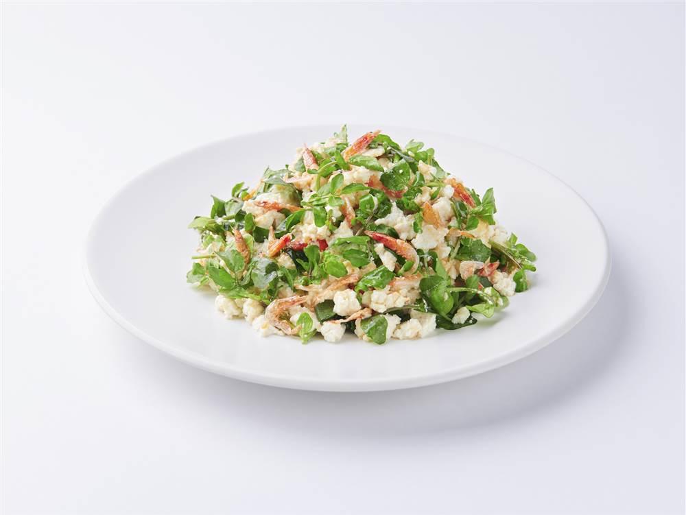 写真:クレソンと豆腐のあえサラダ