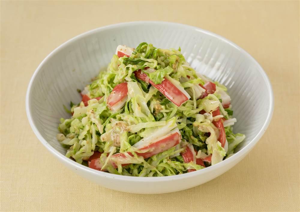 写真:キャベツとかにかまのおつまみサラダ