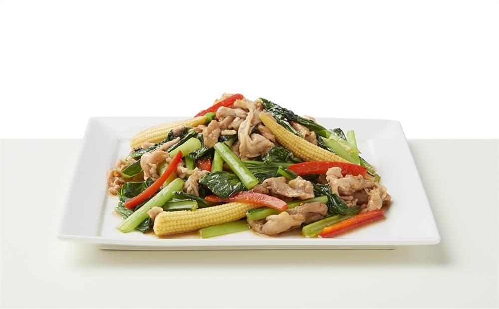 写真:小松菜と豚肉のドレッシング炒め