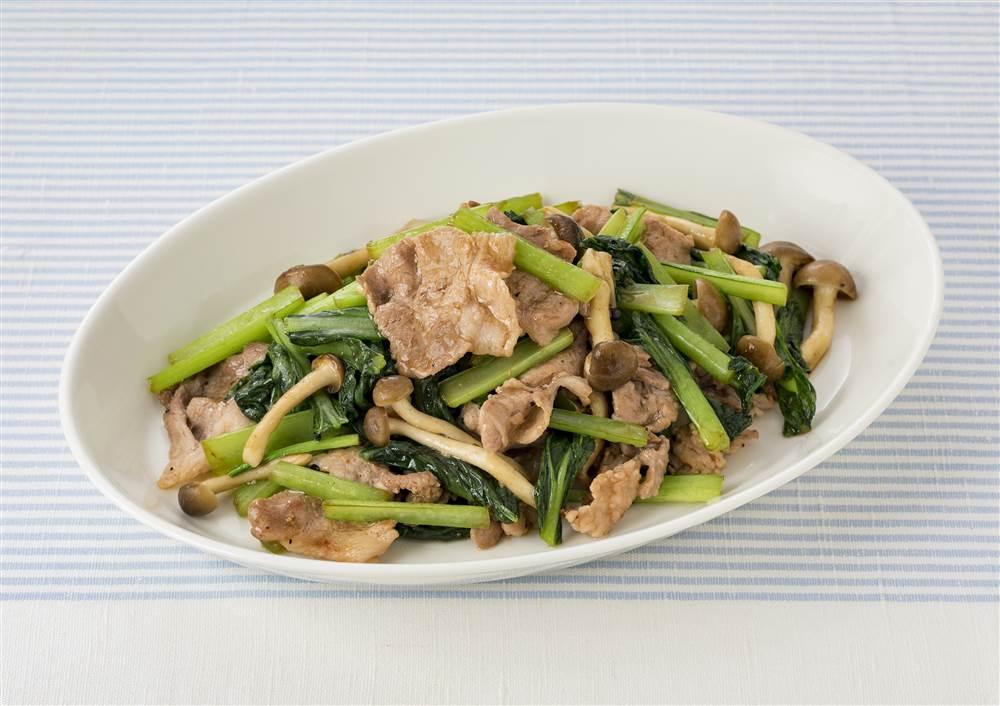 写真:小松菜と豚肉のしょうゆ&ペパー炒め