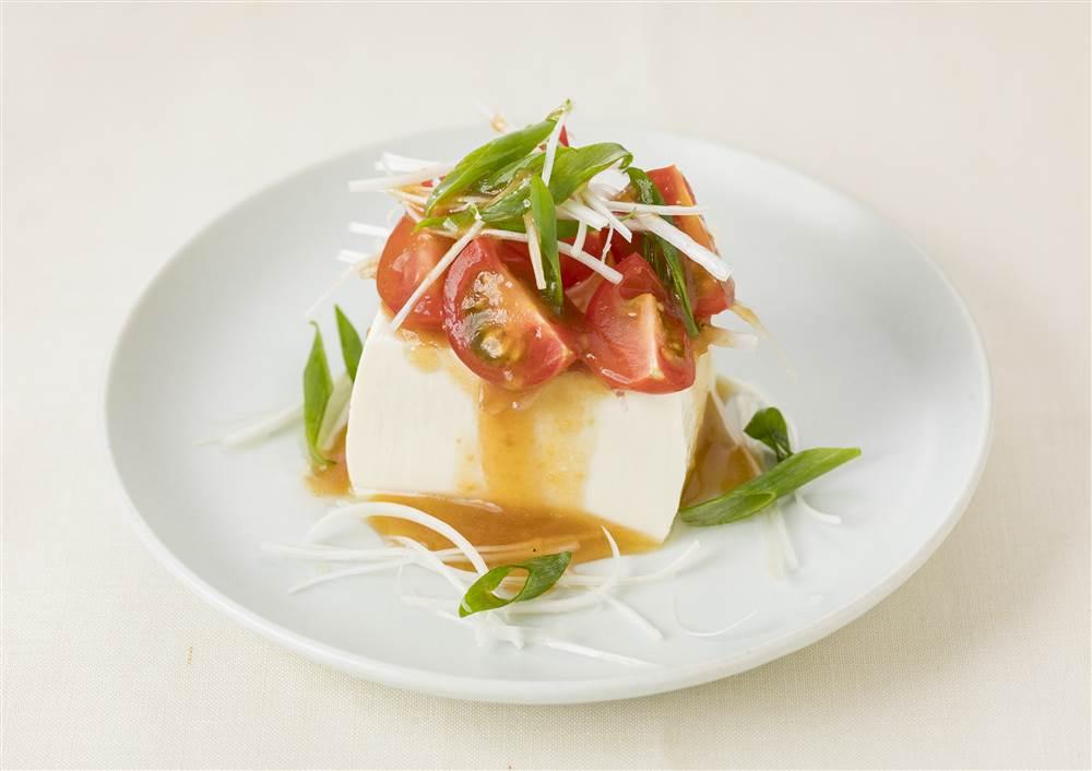 写真:ミニトマトとねぎのおつまみ豆腐