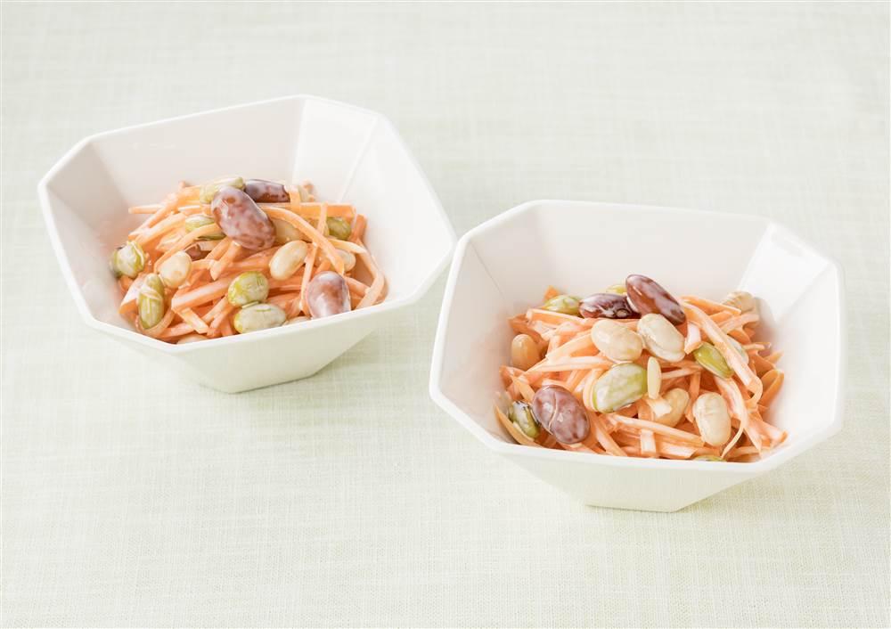 写真:にんじんと和豆ミックスの甘酒マヨサラダ