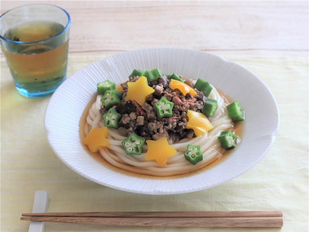 写真:夏野菜の肉みそうどん