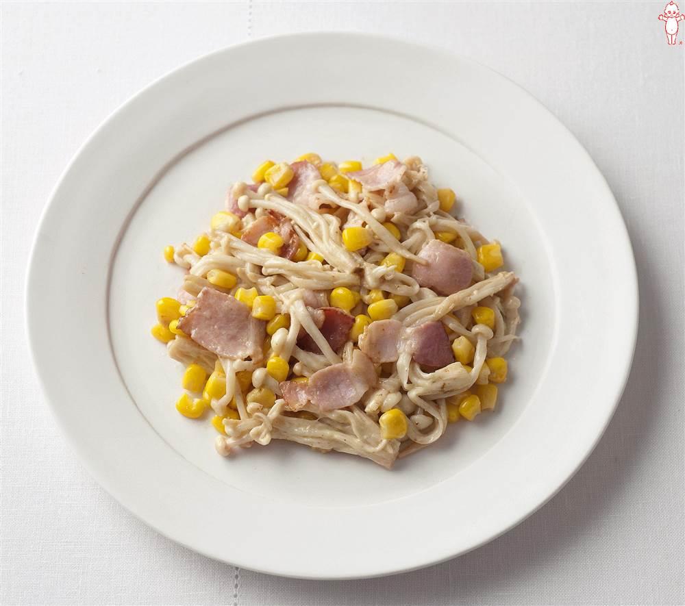 写真:えのきとコーンとベーコンのマヨネーズ炒め