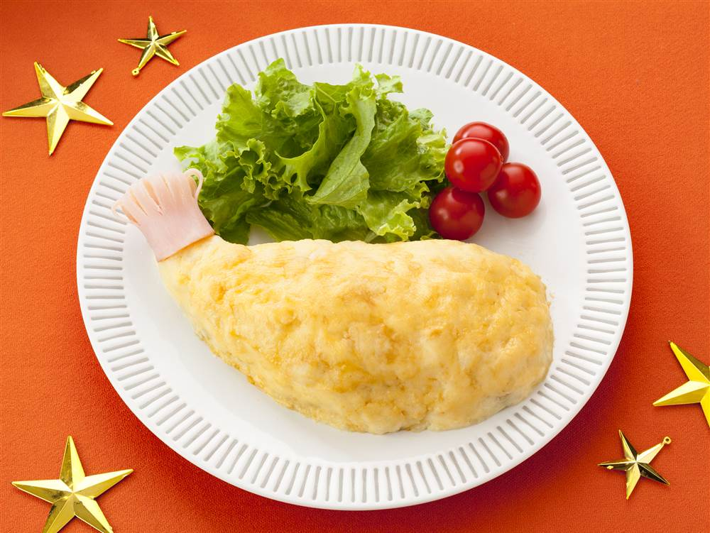 写真:ポテトサラダで!クリスマスバジルチキン