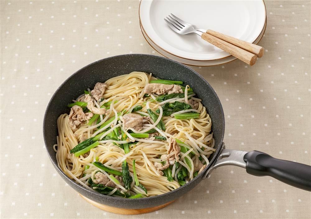 写真:もやしと豚肉の和風スパゲッティ