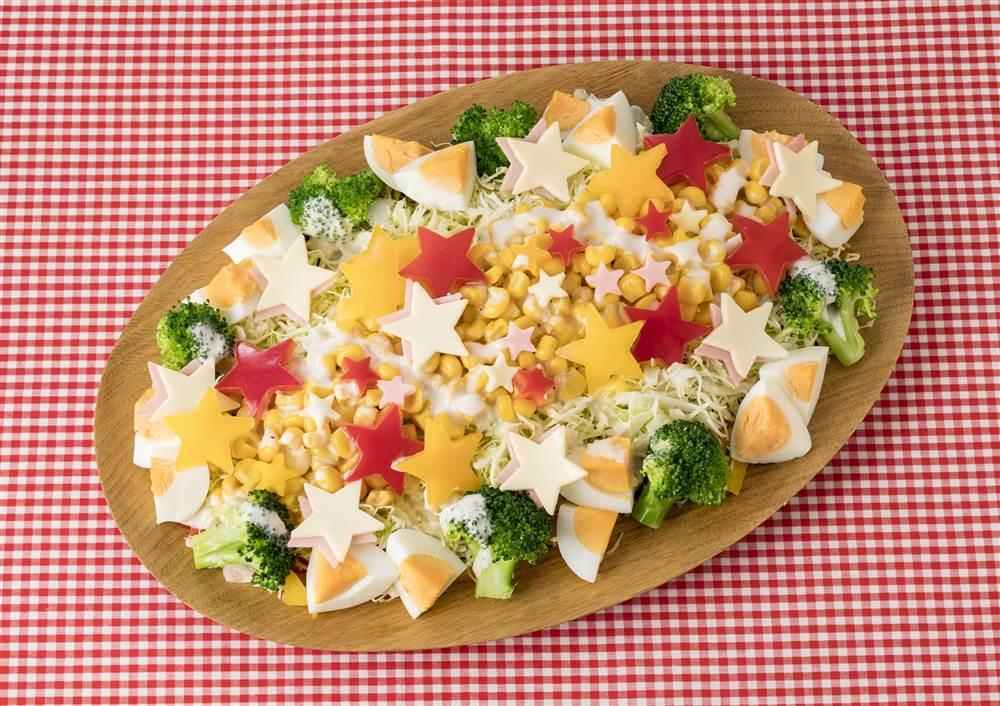 写真:ブロッコリーとゆで卵とコーンの星のサラダ